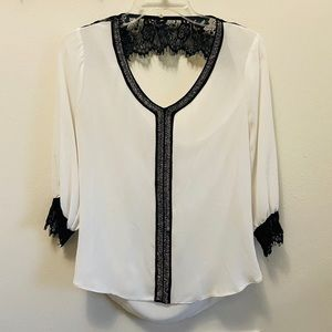 Buckle Daytrip Cream Sheer Top Black Lace Low Back